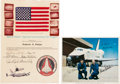 Explorers:Space Exploration, Space Shuttle Enterprise (ALT) Flown American Flag on Presentation Certificate with Signed Color Photo. ... (Total: 2 Items)