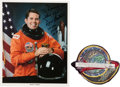 Explorers:Space Exploration, Space Shuttle Atlantis (STS-45) Flown Embroidered MissionCrew Patch with Dave Leestma Signed Photo. ... (Total: 2 Items)