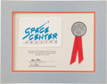 "Explorers:Space Exploration, Space Shuttle Endeavour (STS-47) Flown ""Space CenterHouston"" Flag on Presentation Certificate. ..."
