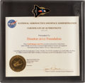 "Explorers:Space Exploration, Space Shuttle Atlantis (STS-101) Flown ""Houston 2012"" Lapel Pin in Lucite Display. ..."