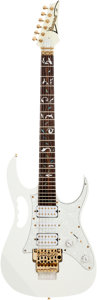 Musical Instruments:Electric Guitars, 2007 Ibanez JEM 77 Copy White Solid Body Electric Guitar....