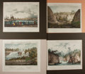 Books:Prints & Leaves, [Antique Prints] Group of Four Exceptional French Hand ColoredLithographs of 19th Century American Landscapes. Matted to an...
