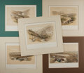 Books:Prints & Leaves, David Roberts (1796-1864), artist. Lot of Five Superb ColoredLithographs of Scenes From the Holy Land, Circa 1856. Matted t...