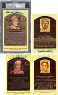 Autographs:Post Cards, 1980's-90's Deceased Hall of Famers Signed Hall of Fame Plaques Lotof 18....