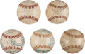 Autographs:Baseballs, 1947-53 Pittsburgh Pirates Team Signed Baseballs Lot of 5....