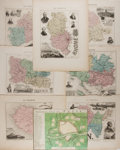 "Books:Maps & Atlases, [Antique Maps] Lot of Eight Antique Hand Colored French Maps, Circa 1858. 10.25"" x 13.5"", portrait and landscape formats. Ex..."