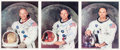 Autographs:Celebrities, Apollo 11 Set of Individually-Signed White Spacesuit NASA ColorPhotos. ... (Total: 3 Items)