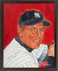 Autographs:Others, Early 1980's Mickey Mantle Signed Original Painting by Robert Simon...