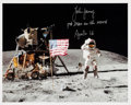 "Autographs:Celebrities, John Young Signed Lunar Surface ""Leaping Salute"" Color Photo. ..."