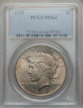 Peace Dollars: , 1935 $1 MS64 PCGS. PCGS Population (2223/944). NGC Census:(2012/800). Mintage: 1,576,000. Numismedia Wsl. Price for proble...