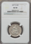 Seated Quarters: , 1877-S 25C AU58 NGC. NGC Census: (27/263). PCGS Population(30/275). Mintage: 8,996,000. Numismedia Wsl. Price for problem ...