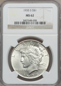Peace Dollars: , 1935-S $1 MS62 NGC. NGC Census: (395/2001). PCGS Population(552/3267). Mintage: 1,964,000. Numismedia Wsl. Price for probl...
