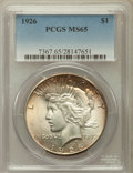 Peace Dollars: , 1926 $1 MS65 PCGS. PCGS Population (1215/167). NGC Census:(708/46). Mintage: 1,939,000. Numismedia Wsl. Price for problem ...