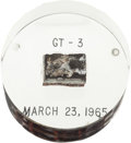 Explorers:Space Exploration, Gemini 3 Flown Heat Shield Plug in Lucite Display....