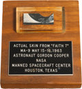 Explorers:Space Exploration, Mercury-Atlas 9 (Faith 7) Flown Skin Section in Lucite on Wooden Base....