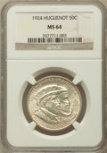 Commemorative Silver: , 1924 50C Huguenot MS64 NGC. NGC Census: (1361/1366). PCGSPopulation (1508/1338). Mintage: 142,080. Numismedia Wsl. Pricef...