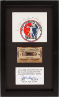 Explorers:Space Exploration, Skylab II (SL-3) Flown Music Cassette Tape in Framed Display with Crew-Signed Beta Cloth Patch Directly from the Personal Coll...