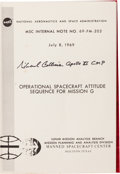 Explorers:Space Exploration, Michael Collins Signed Apollo 11 Operational Spacecraft Attitude Sequence for Mission G Book. ...