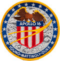 Explorers:Space Exploration, Apollo 16 Flown Embroidered Mission Insignia Patch Directly fromthe Personal Collection of Mission Commander John Young, Sign...