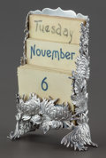 Silver Smalls:Other , A SHIEBLER SILVER CHRYSANTHEMUM PATTERN CALENDAR RACK WITH MONTH,DAY AND DATE CARDS . George W. Shiebler & Co., New York, ...