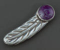 Silver Smalls:Other , A WILLIAM SPRATLING MEXICAN SILVER AND AMETHYST QUARTZ CLIP .William Spratling, Taxco, Mexico, circa 1945. Marks: WS ...