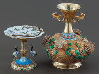 A CHINESE SILVER GILT AND ENAMEL FILIGREE VASE AND TAZZA Maker unknown, China, circa 1900 Marks: SILVER<