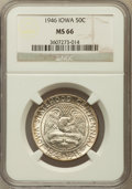 Commemorative Silver: , 1946 50C Iowa MS66 NGC. NGC Census: (2316/774). PCGS Population(2640/825). Mintage: 100,057. Numismedia Wsl. Price for pro...