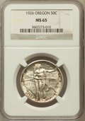 Commemorative Silver: , 1926 50C Oregon MS65 NGC. NGC Census: (677/390). PCGS Population(866/490). Mintage: 47,955. Numismedia Wsl. Price for prob...