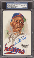 Autographs:Post Cards, 1981 Satchel Paige Signed Perez-Steele Postcard - The Toughest One Autograph Grade PSA Gem Mint 10....