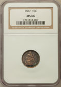 Seated Dimes: , 1867 10C MS66 NGC. NGC Census: (9/3). PCGS Population (8/2).Mintage: 6,000. Numismedia Wsl. Price for problem free NGC/PCG...