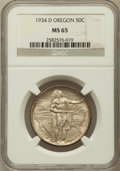 Commemorative Silver: , 1934-D 50C Oregon MS65 NGC. NGC Census: (566/249). PCGS Population(845/405). Mintage: 7,006. Numismedia Wsl. Price for pro...