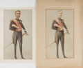 Books:Original Art, [Jean Baptiste] Guth. ORIGINAL WATERCOLOR DRAWING. l'Amiral. [London, 1902]. Drawing of Admiral Gervais. Signed in...