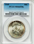 Franklin Half Dollars: , 1949 50C MS66 Full Bell Lines PCGS. PCGS Population (198/0). NGCCensus: (56/1). Numismedia Wsl. Price for problem free NG...