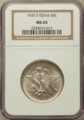 Commemorative Silver: , 1935-S 50C Texas MS65 NGC. NGC Census: (509/534). PCGS Population(845/468). Mintage: 10,000. Numismedia Wsl. Price for pro...