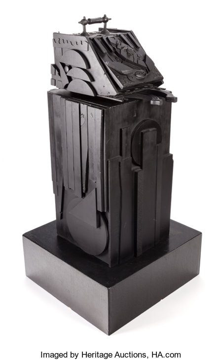 LOUISE NEVELSON (American, 1899-1988)Sky Shovel, 1977Black painted wood43 x 18 x 22 inches (109.2 x 45.7 x 55.9 cm... (Total: 3 Items)