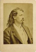 Photography:Studio Portraits, EARLY WILLIAM FREDERICK CODY (BUFFALO BILL) CABINET PHOTOGRAPH ca. 1870s William F. Cody was a soldier, bison hunter, and sh... (Total: 1 Item)