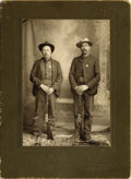 "Photography:Cabinet Photos, DESIRABLE WOLVERTON CABINET OF TWO LAWMEN AND THEIR GUNS, ca1890-1900. Handsome 3.75"" x 5.5"" image of two unnamed lawmen po...(Total: 1 Item)"