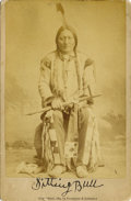 Photography:Cabinet Photos, SITTING BULL WITH PEACE PIPE CABINET CARD 1884. Sitting Bull,(Tatonka Yotanka) Sioux Indian, born 1835. When Custer was kil...(Total: 1 Item)