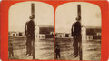 Photography:Stereo Cards, STEREOGRAPH LYNCHING OF GUS MENTZER, RATON, NEW MEXICO. 1882.Raton, New Mexico Territory. Mentzer is hanging from pole, as...(Total: 1 Item)
