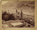 Photography:Cabinet Photos, DEADWOOD, SOUTH DAKOTA GOLD MINERS WORKING LONG TOM 1880-1890.Imperial size cabinet card of three gold miner's working v...(Total: 1 Item)