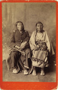 Photography:Cabinet Photos, CABINET OF UNIDENTIFED CROW INDIAN IN UNIFORM. Great cabinet cardimage of an elderly Indian couple - possibly Crow - posing...(Total: 1 Item)