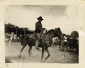 Photography:Official Photos, RARE AND DESIRABLE PHOTO OF GERONIMO ON HORSEBACK. Excellent Kodakbox camera image of Geronimo astride his horse, wearing w...(Total: 1 Item)