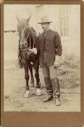 Photography:Cabinet Photos, INDIAN WARS FARRIER AND HIS HORSE ca. 1870-1880. An unidentifiedphotographer captured the image of this handsome young farr...(Total: 1 Item)