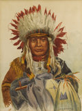 Fine Art - Painting, American:Modern  (1900 1949)  , LOUIS SCHAETTLE (American 1867-1917). Indian Chief.Watercolor on paper. 10-3/4 x 8 inches (27.3 x 20.3 cm). Signed atl...