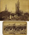 Photography:Cabinet Photos, ARIZONA TERRITORY, STAGECOACH WITH MILITARY ESCORT 1880s. This great Imperial-size cabinet card photograph taken in the des... (Total: 1 Item)