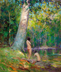 Fine Art - Painting, American:Modern  (1900 1949)  , EMILE ALBERT GRUPPE (American, 1896-1978). Bathers in a WoodedLandscape. Oil on canvas. 24 x 20-1/2 inches (61.0 x 52.1...