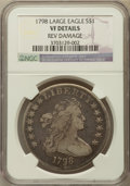Early Dollars, 1798 $1 Large Eagle, Pointed 9 -- Reverse Damage -- NGC Details.VF. B-29, BB-119, R.4....
