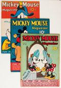 Platinum Age (1897-1937):Miscellaneous, Mickey Mouse Magazine Apparent Group (K. K. Publications/ WesternPublishing Co., 1937).... (Total: 3 Items)