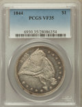 Seated Dollars: , 1844 $1 VF35 PCGS. PCGS Population (12/191). NGC Census: (1/138).Mintage: 20,000. Numismedia Wsl. Price for problem free N...