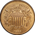 Two Cent Pieces, 1865 2C MS66+ Red and Brown NGC. CAC....